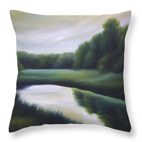 Nature; Lake; Sunset; Sunrise; Serene; Forest; Trees; Water; Ripples; Clearing; Lagoon; James Christopher Hill; Jameshillgallery.com; Foliage; Sky; Realism; Oils; Green; Tree Throw Pillow featuring the painting A Day In The Life 3 by James Christopher Hill