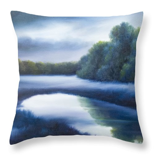 Nature; Lake; Sunset; Sunrise; Serene; Forest; Trees; Water; Ripples; Clearing; Lagoon; James Christopher Hill; Jameshillgallery.com; Foliage; Sky; Realism; Oils; Green; Tree; Blue; Pink; Pond; Lake Throw Pillow featuring the painting A Day In The Life 4 by James Christopher Hill
