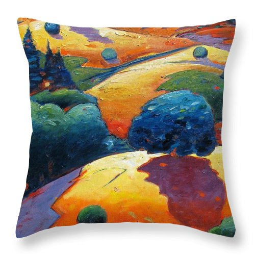 Hills Throw Pillow featuring the painting A Different Kind of Blue Tree by Gary Coleman