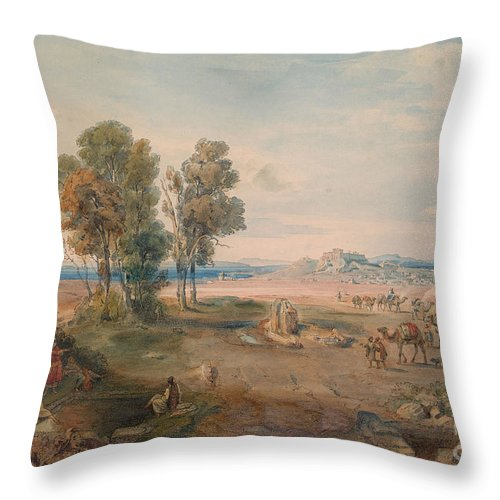 Carl Rottmann Throw Pillow featuring the painting A Distant View Of Athens by MotionAge Designs