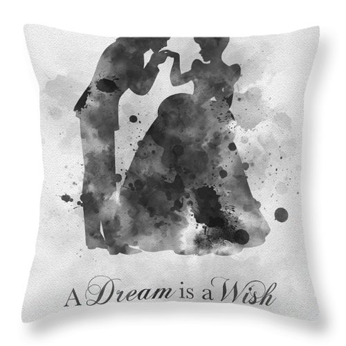 Cinderella Throw Pillow featuring the mixed media A Dream Is A Wish Your Heart Makes Black And White by My Inspiration