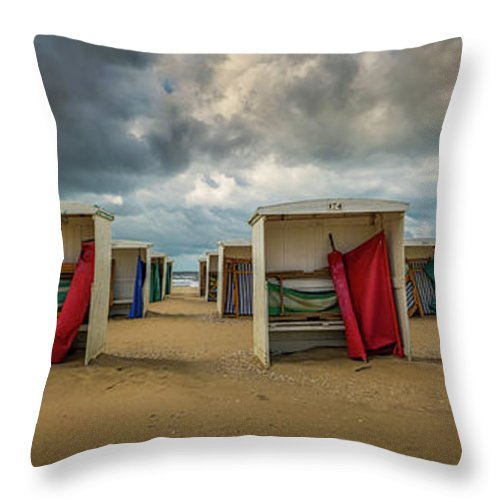 Holland Throw Pillow featuring the photograph A Dutch Summer At The Beach by Toon Van den Einde