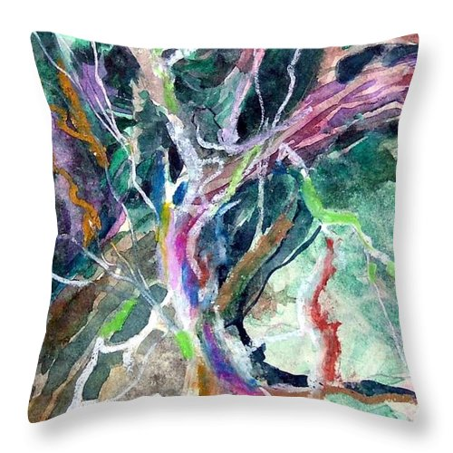 Tree Throw Pillow featuring the painting A Dying Tree by Mindy Newman