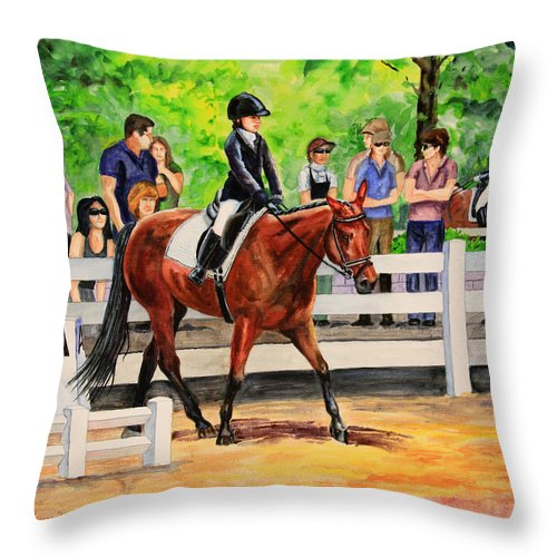 Horse Throw Pillow featuring the painting A Enter by Kristine Plum