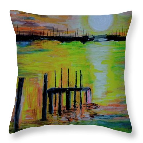 Sunset Throw Pillow featuring the drawing A Fabulous Smoon by Maria Disley