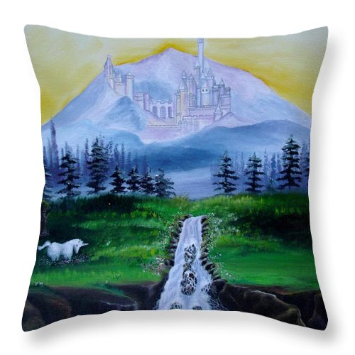 Landscape Throw Pillow featuring the painting A Fairytale by Glory Fraulein Wolfe