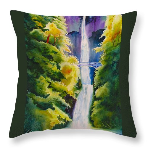 Waterfall Throw Pillow featuring the painting A Favorite Place by Karen Stark