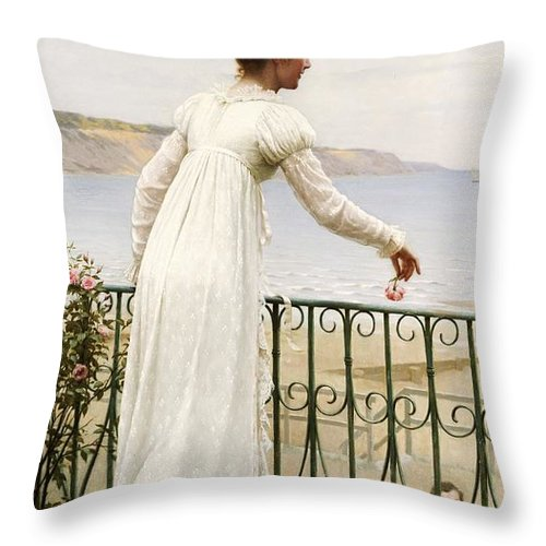 A Favour Throw Pillow featuring the painting A Favour by Edmund Blair Leighton