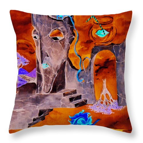 Surreal Sky Mermaids Trees Stairs Heaven Throw Pillow featuring the painting A Few Seconds In My Head by Veronica Jackson