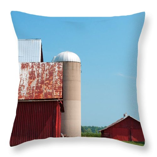 Farm Throw Pillow featuring the photograph A Fine Day For Farming by Paulette B Wright