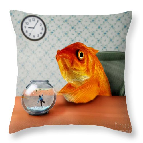 A Fish Out Of Water Throw Pillow featuring the mixed media A Fish Out Of Water by Carrie Jackson