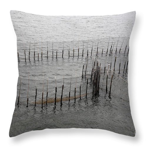 Canada Throw Pillow featuring the photograph A Fish Weir by Ted Kinsman
