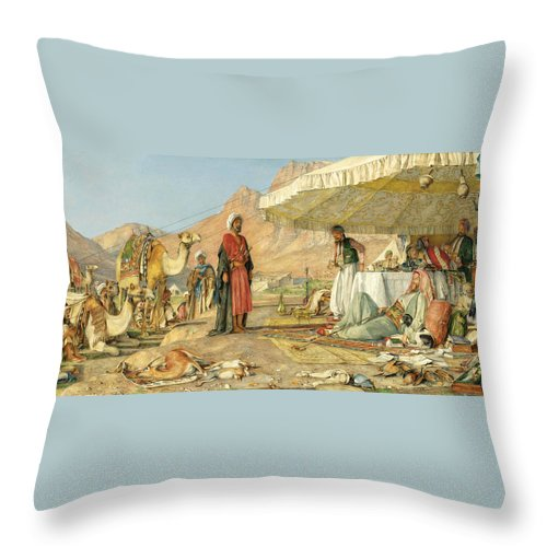 John Frederick Lewis Throw Pillow featuring the painting A Frank Encampment In The Desert Of Mount Sinai 1842 by John Frederick Lewis