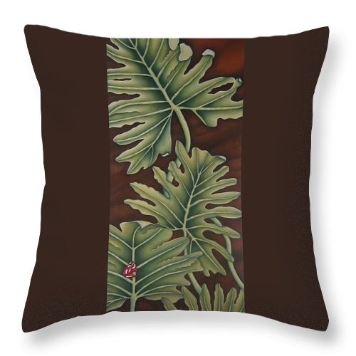 Frog Throw Pillow featuring the painting A Frog On A Philodendron by Jeniffer Stapher-Thomas