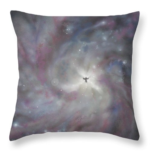 Space Throw Pillow featuring the painting A Galaxy Centre by Mike Moss