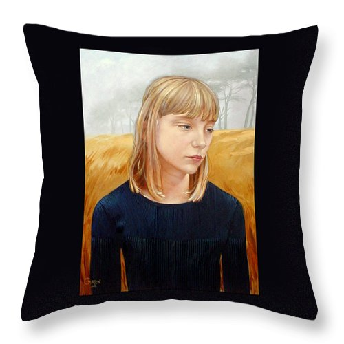 Girl Throw Pillow featuring the painting A Gang Of Crows by Jerrold Carton