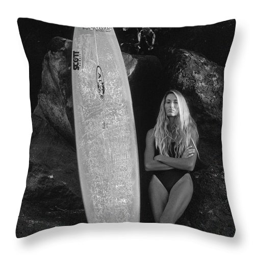 Black And White Throw Pillow featuring the photograph A Girl And Her Gun. by Sean Davey