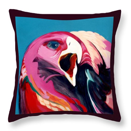 Raptor Throw Pillow featuring the painting A Golden Mantles by Marlene Burns