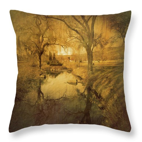 Trees Throw Pillow featuring the photograph A Golden Winter 2 by Tara Turner