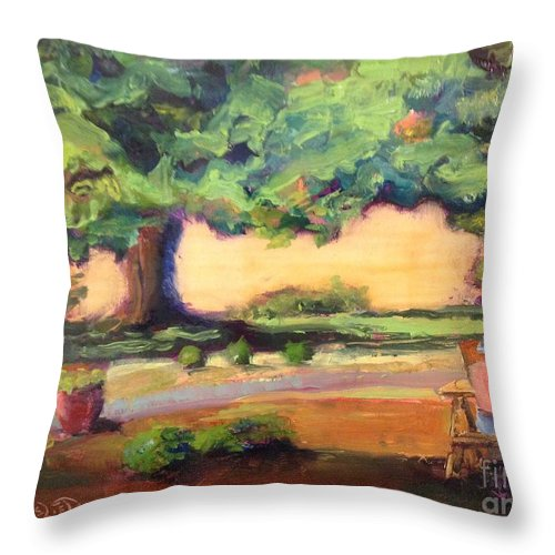 Oil On Panel Throw Pillow featuring the painting A Good Day by Leslie Dobbins