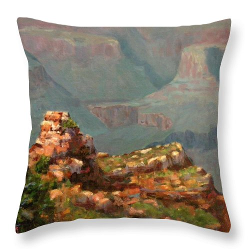 Landscape Throw Pillow featuring the painting A Grand View by Linda Hiller