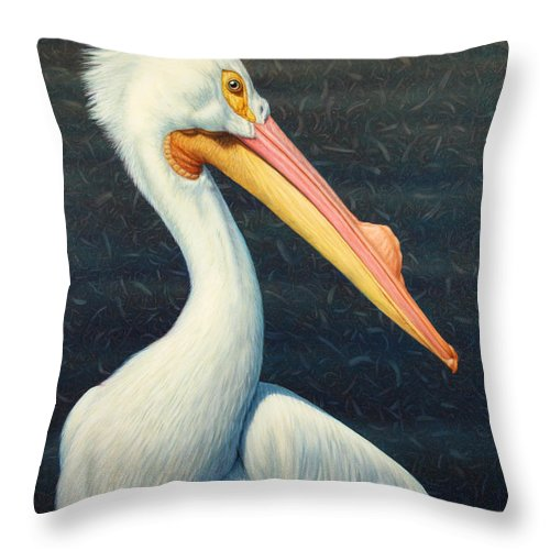 Pelican Throw Pillow featuring the painting A Great White American Pelican by James W Johnson