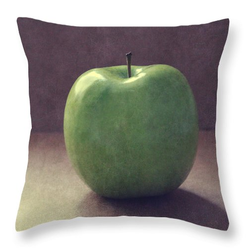 Apple Throw Pillow featuring the photograph A Green Apple- Art By Linda Woods by Linda Woods