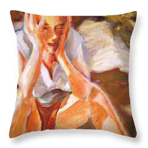 Dornberg Throw Pillow featuring the painting A Hangover by Bob Dornberg