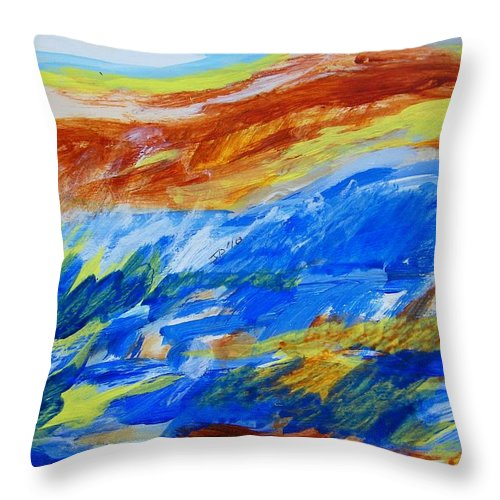 Landscape Throw Pillow featuring the painting A Happy Day For Observing by Judith Redman