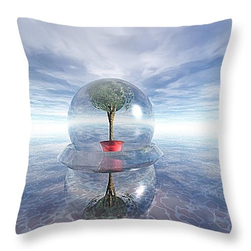 Surreal Throw Pillow featuring the digital art A Healing Environment by Oscar Basurto Carbonell