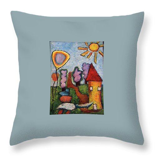 Landscape Throw Pillow featuring the painting A House And A Mouse by Ioulia Sotiriou