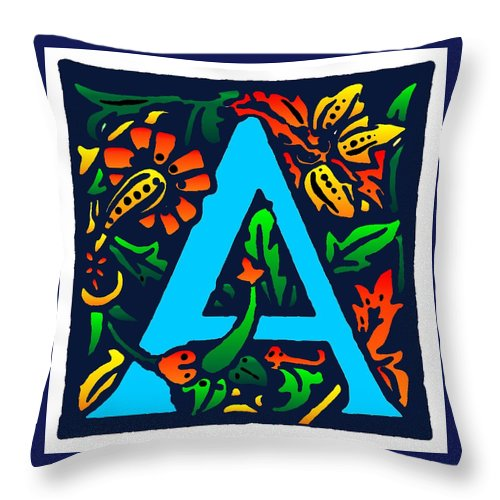 Alphabet Throw Pillow featuring the digital art A In Blue by Kathleen Sepulveda