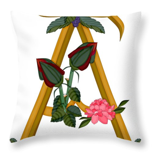 A Throw Pillow featuring the painting A is For Art by Anne Norskog