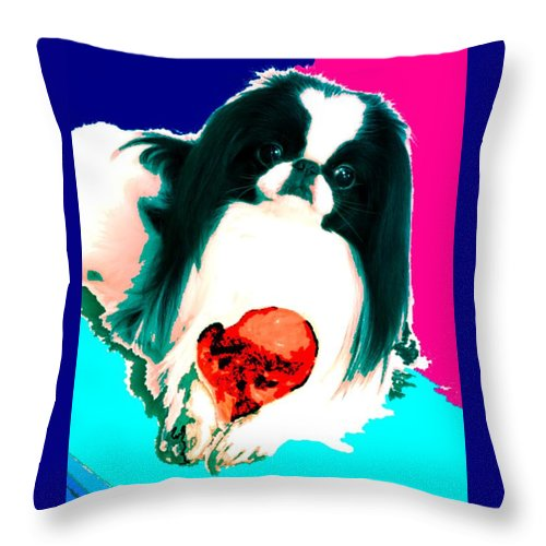 A Japanese Chin And His Toy Throw Pillow featuring the digital art A Japanese Chin and His Toy by Kathleen Sepulveda