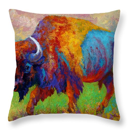 Wildlife Throw Pillow featuring the painting A Journey Still Unknown - Bison by Marion Rose