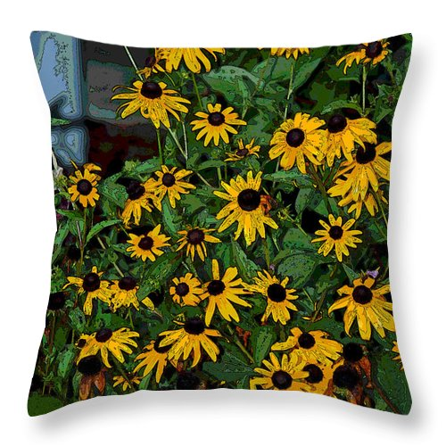 Yellow Throw Pillow featuring the photograph A Jumble Of Yellow by Suzanne Gaff
