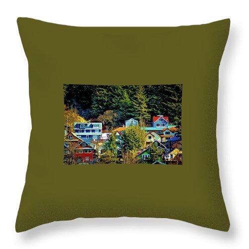 Alaska Throw Pillow featuring the photograph A Juneau Hillside by Bob Lynn