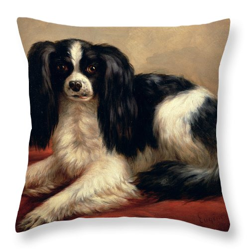 A King Charles Spaniel Seated On A Red Cushion Throw Pillow featuring the painting A King Charles Spaniel Seated On A Red Cushion by Eugene Joseph Verboeckhoven