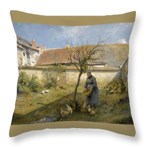 Carl Larsson Throw Pillow featuring the painting A La Campagne by Carl Larsson