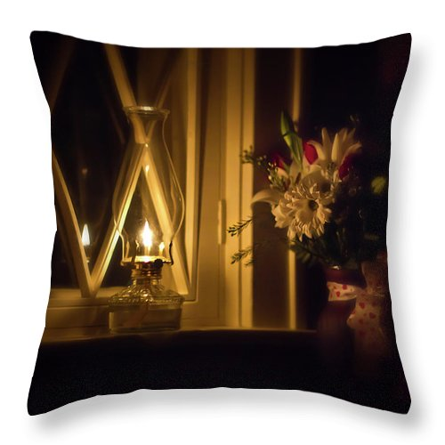 Oil Lamp Throw Pillow featuring the photograph A Lamp In The Window For My Love by Straublund Photography