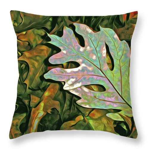 Oak Throw Pillow featuring the mixed media A Leaf On The Pile by Lynda Lehmann