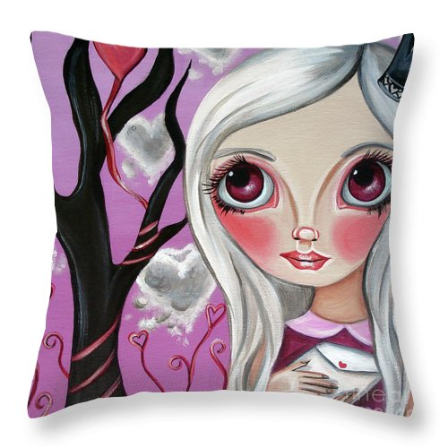 Art Throw Pillow featuring the painting A Letter From My Valentine by Jaz Higgins