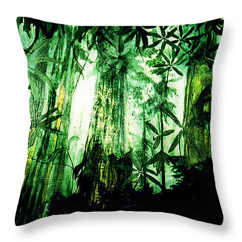 A Light In The Forest Throw Pillow featuring the painting A Light in the Forest by Seth Weaver