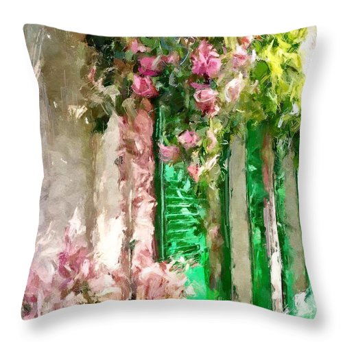 Street Throw Pillow featuring the digital art A Little Cozy Street With Roses by Tanya Gordeeva