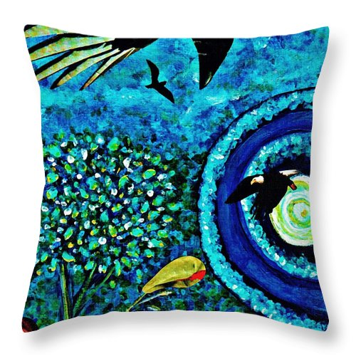 Garden Throw Pillow featuring the painting A Little Garden At The Edge Of The World by Sarah Loft