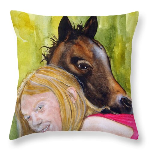 Equine Throw Pillow featuring the painting A Little Girl's Fancy by Jean Blackmer
