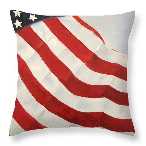 Flag Throw Pillow featuring the painting A Little Glory by Carol Sweetwood