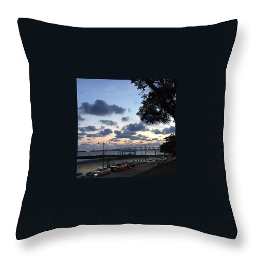 Beach Throw Pillow featuring the photograph Ocean Springs Front Beach by Joan McCool