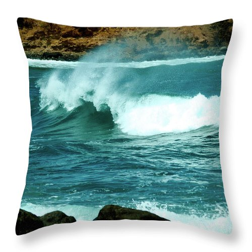 Fine Art Photography Throw Pillow featuring the photograph A Little Wave Action by Patricia Griffin Brett