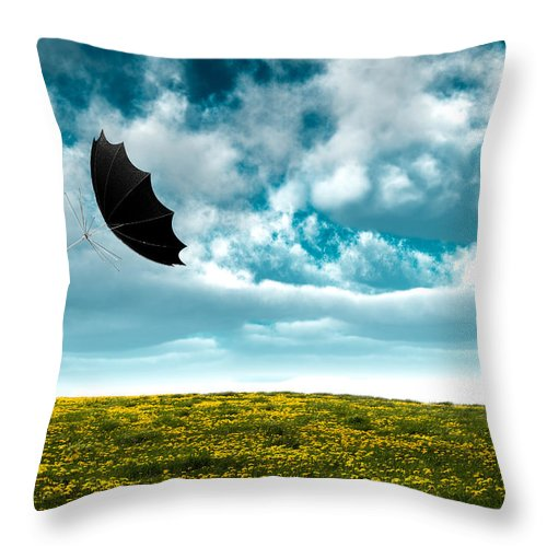 Umbrella Throw Pillow featuring the photograph A Little Windy by Bob Orsillo